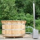 Vildmarksbad 160 cm, i masivt træ. Udvendig brændeovn(363592547855-160 cm)