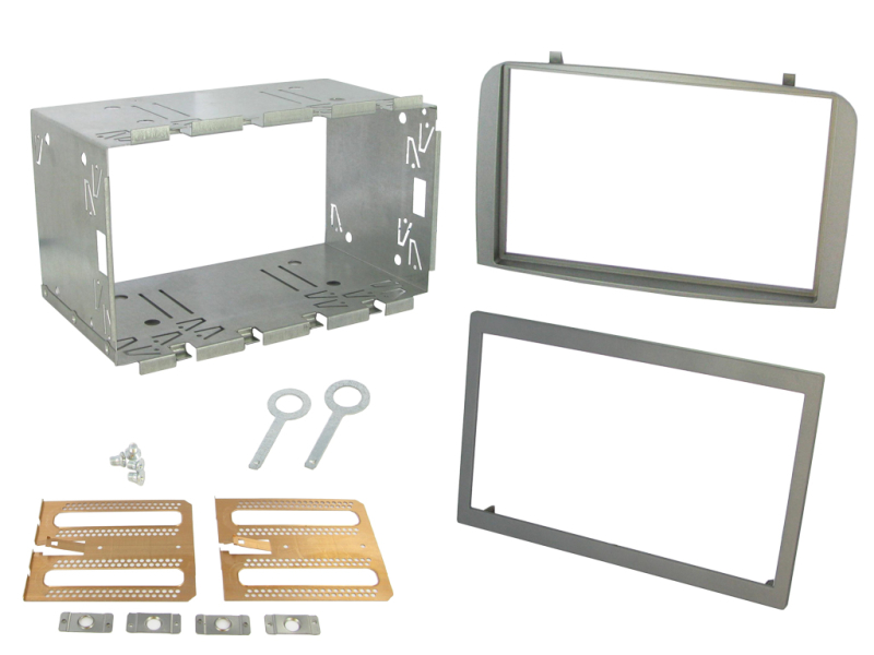 2-DIN monteringskit for diverse Alfa Romeo modeller, sølv.