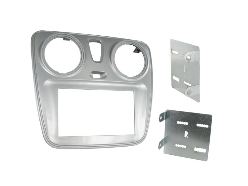 2-DIN monteringskit til divere Dacia, sølv.