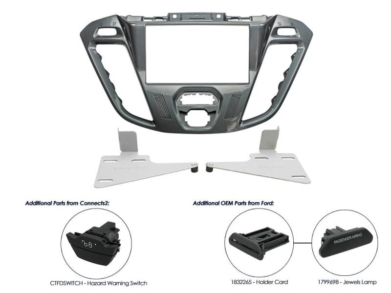 2-DIN monteringskit til Ford Transit Custom 2012-, Pegasus.