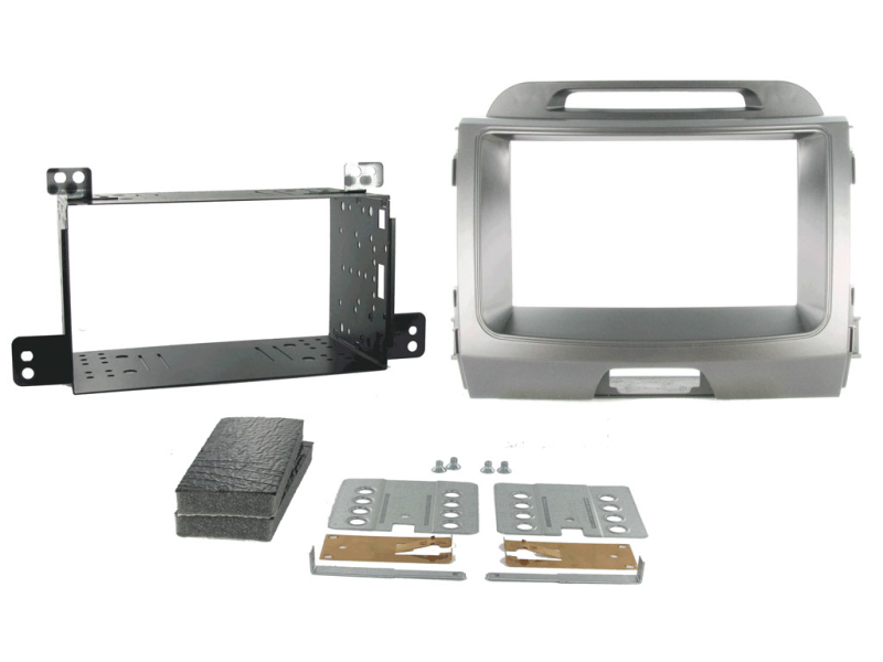 2-DIN monteringskit til Kia Sportage 2010-. Lysegrå metallic