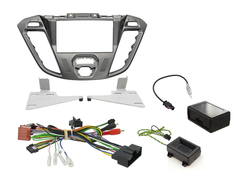 2-DIN kit Phoenix silver ramme Ford Transit Custom 2012>