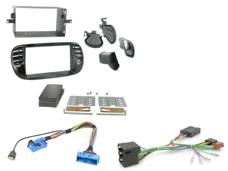 2-DIN kit Sort ramme, Fiat 500 2008>2015