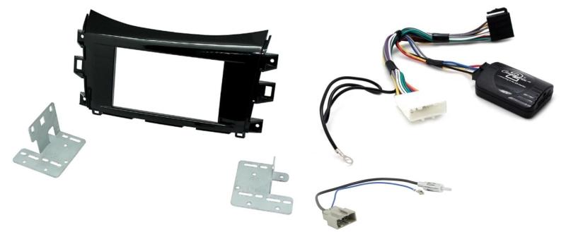 Komplet 2-DIN kit til Nissan Navara NP300 2015- med matsort