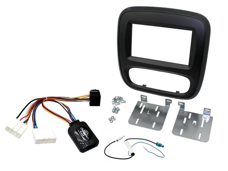 Komplet 2-DIN kit til ny Opel Vivaro 15-, sort ramme.