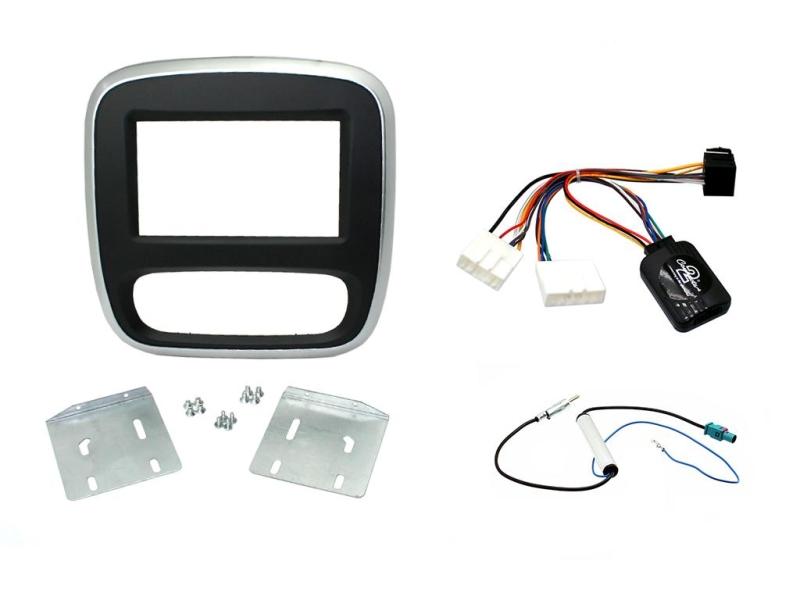 Komplet 2-DIN kit til ny Opel Vivaro 15-, sort/sølv.